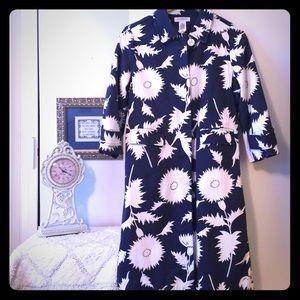 Gorgeous Isaac Mizrah navy blue floral spring coat
